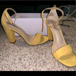 Suede Yellow High Heels